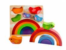 Load image into Gallery viewer, Bird & Rainbow Wooden Puzzle