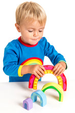 Load image into Gallery viewer, Wooden Rainbow Tunnel Toy