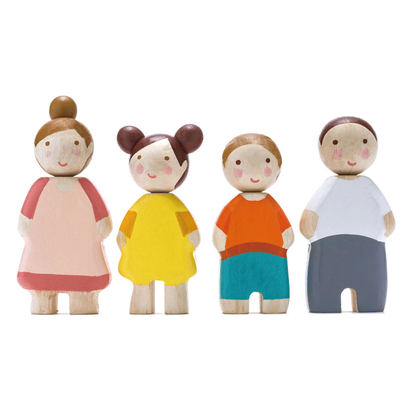 Wooden Leaf Doll Family