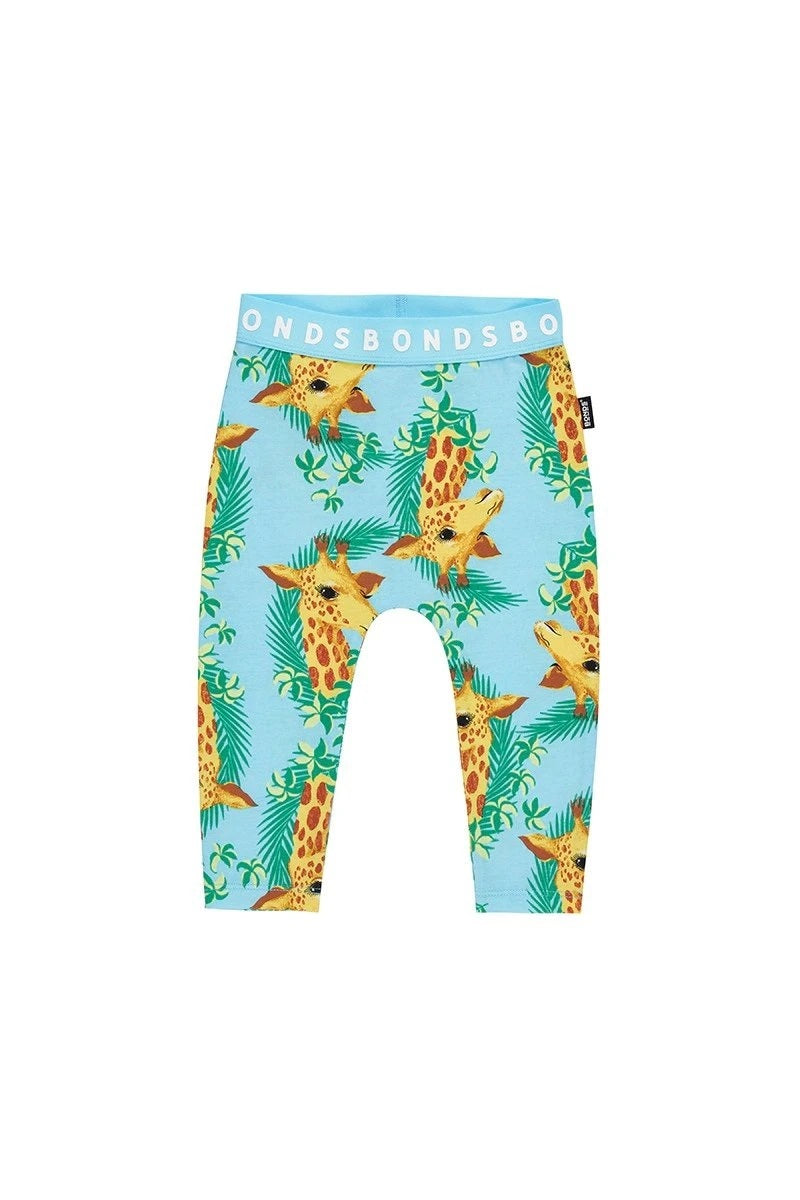 Bonds Baby Stretchies Leggings - George Giraffe Candy Blue