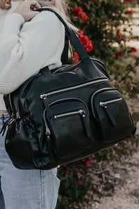 Faux Leather Carry All Nappy Bag - Black
