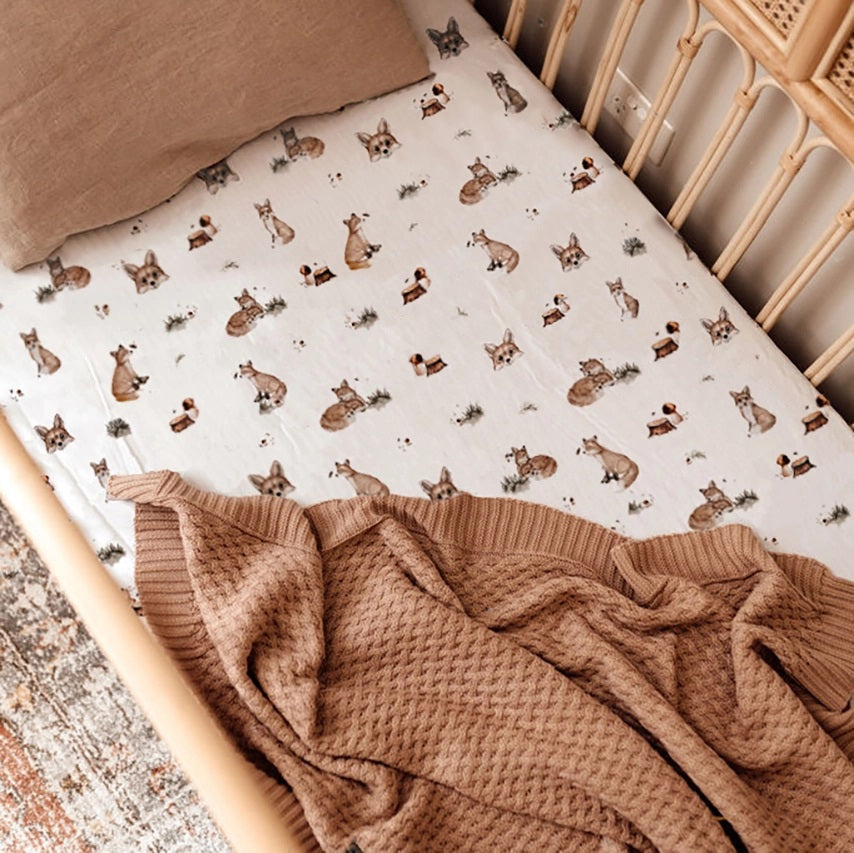 NEW Fitted Jersey Cotton Cot Sheet - Fox