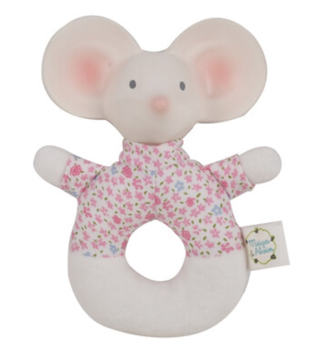 Meiya the Mouse Pink Floral Rattle