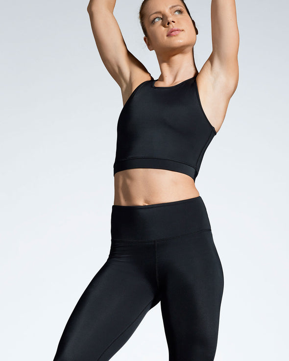 Debutto sustainable activewear crop in black front view