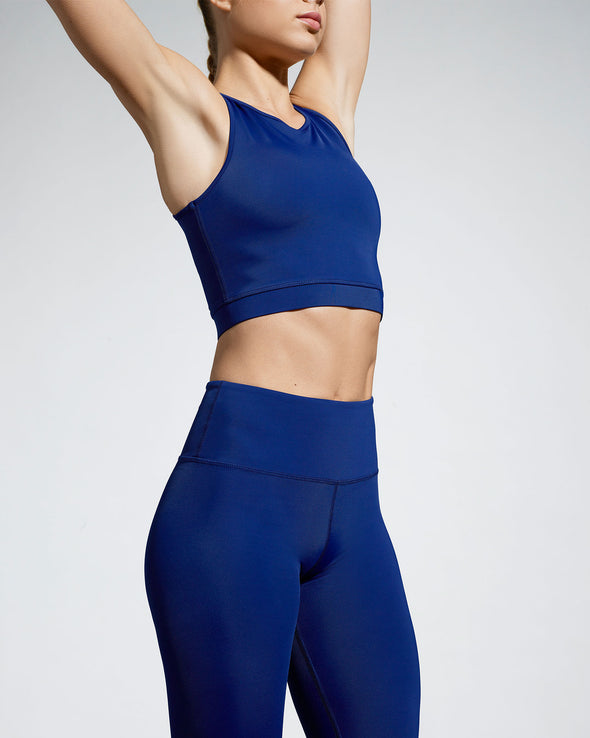 Debutto sustainable activewear crop in night (dark blue) front view