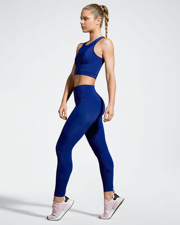 Debutto sustainable activewear crop in night (dark blue) side view