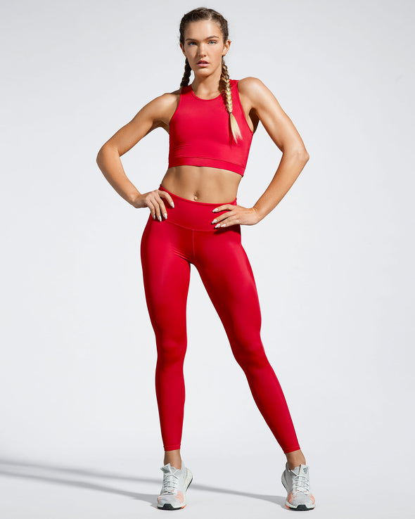Debutto sustainable activewear crop in sporting red full front view