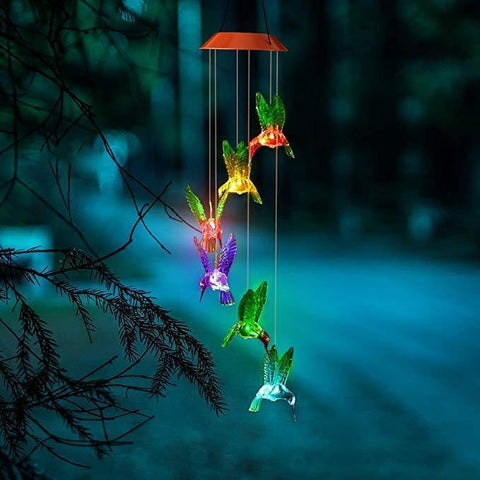 AtoZ Special Offers Dazzling Color Changing Solar LED Hummingbird Wind Chime, Gift for Mom, Gift for Grandma, Mom Birthday Gifts, Solar Wind Chimes, Outdoor Garden Decor