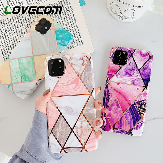 Geometric Marble cover per iPhone 11 Pro Max XR XS Max 6 6S 7 8 Plus X