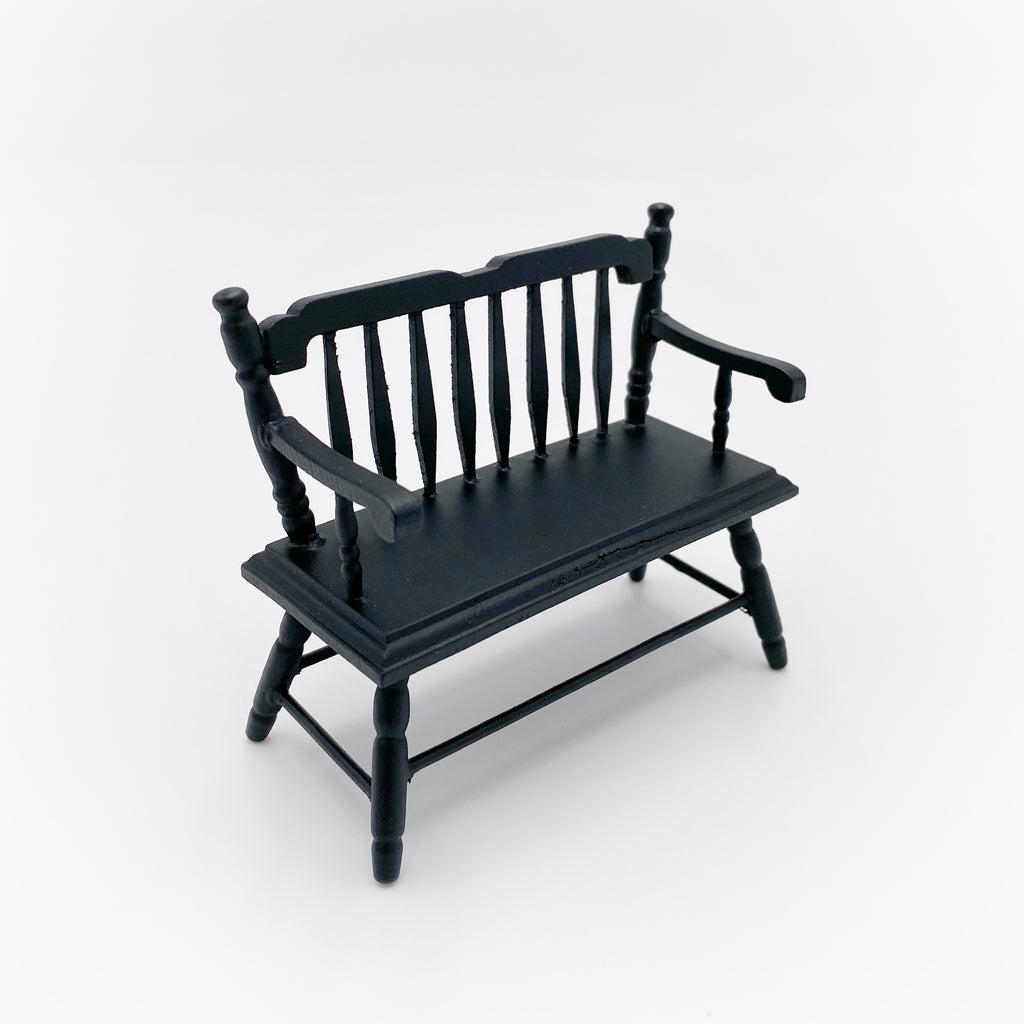 Dollhouse Black Bench - Life In A Dollhouse