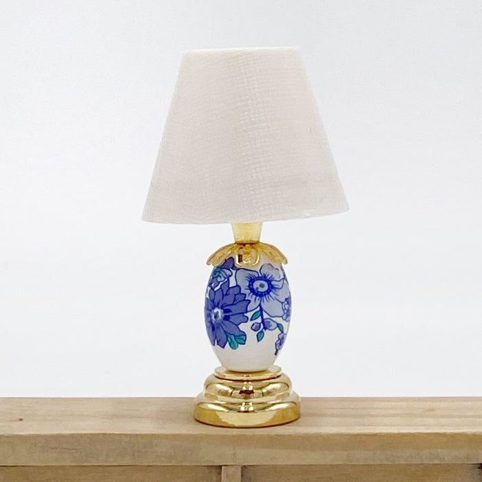 Blue and White Floral Lamp Miniature - Life In A Dollhouse