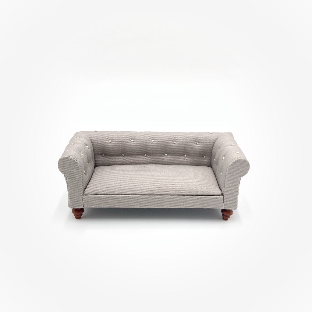 Grey Chesterfield Sofa For Dollhouse - Life In A Dollhouse