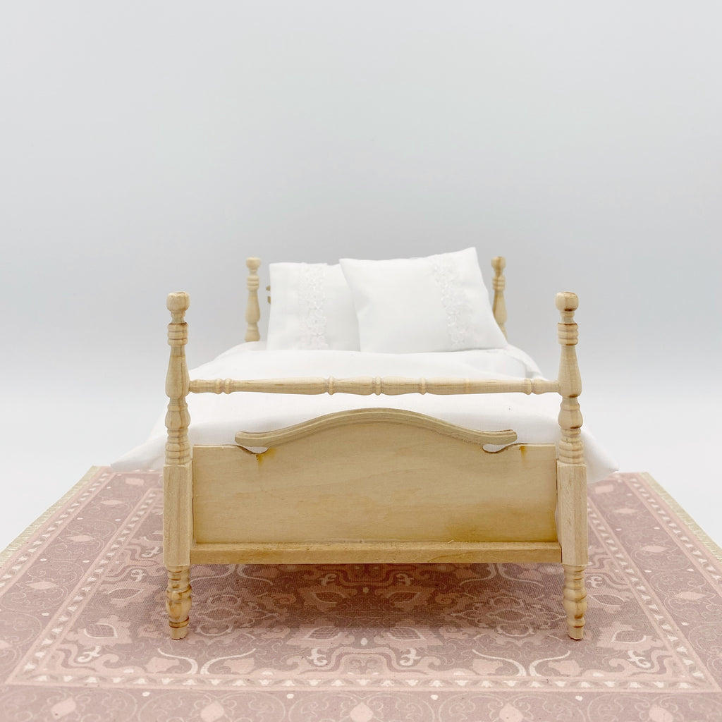 Unfinished Bed with White Bedding for Dollhouse - Life In A Dollhouse