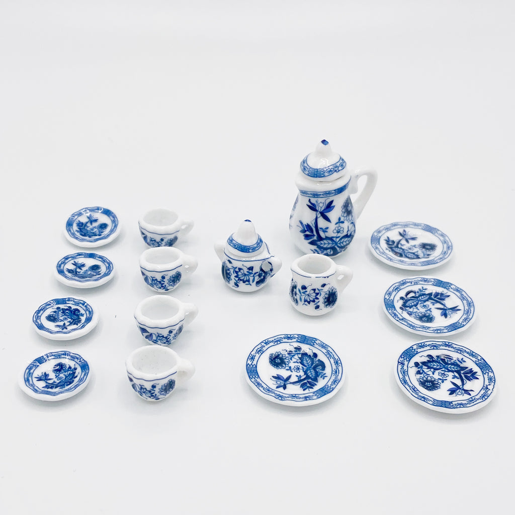Blue Tea Set for Dollhouse - Life In A Dollhouse