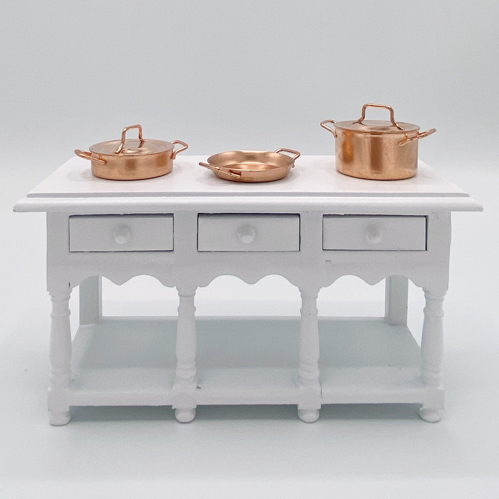 Copper Pots and Pans Set for Dollhouse - Life In A Dollhouse