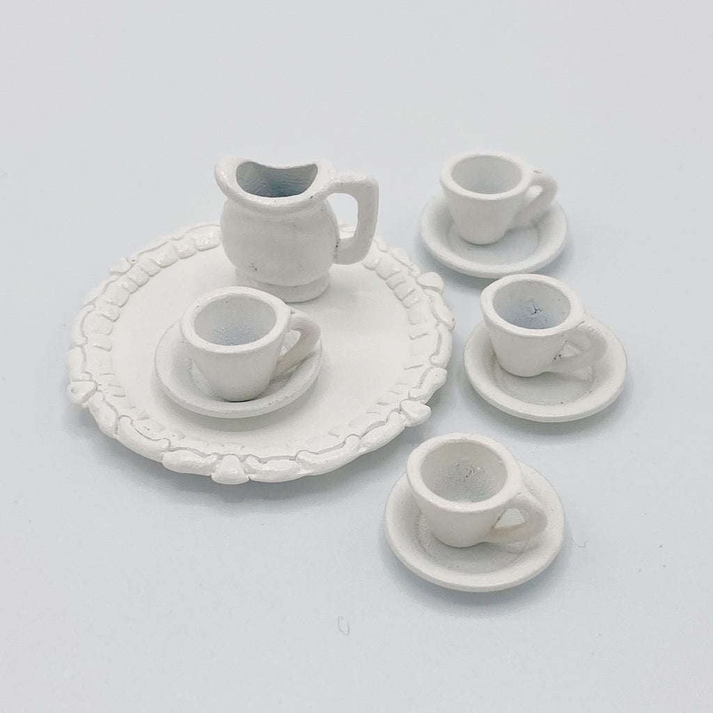 Tea Set in White For Dollhouse - Life In A Dollhouse