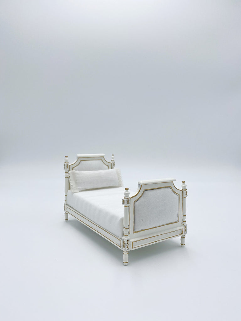 Twin Sized Bed For Dollhouse, White - Life In A Dollhouse
