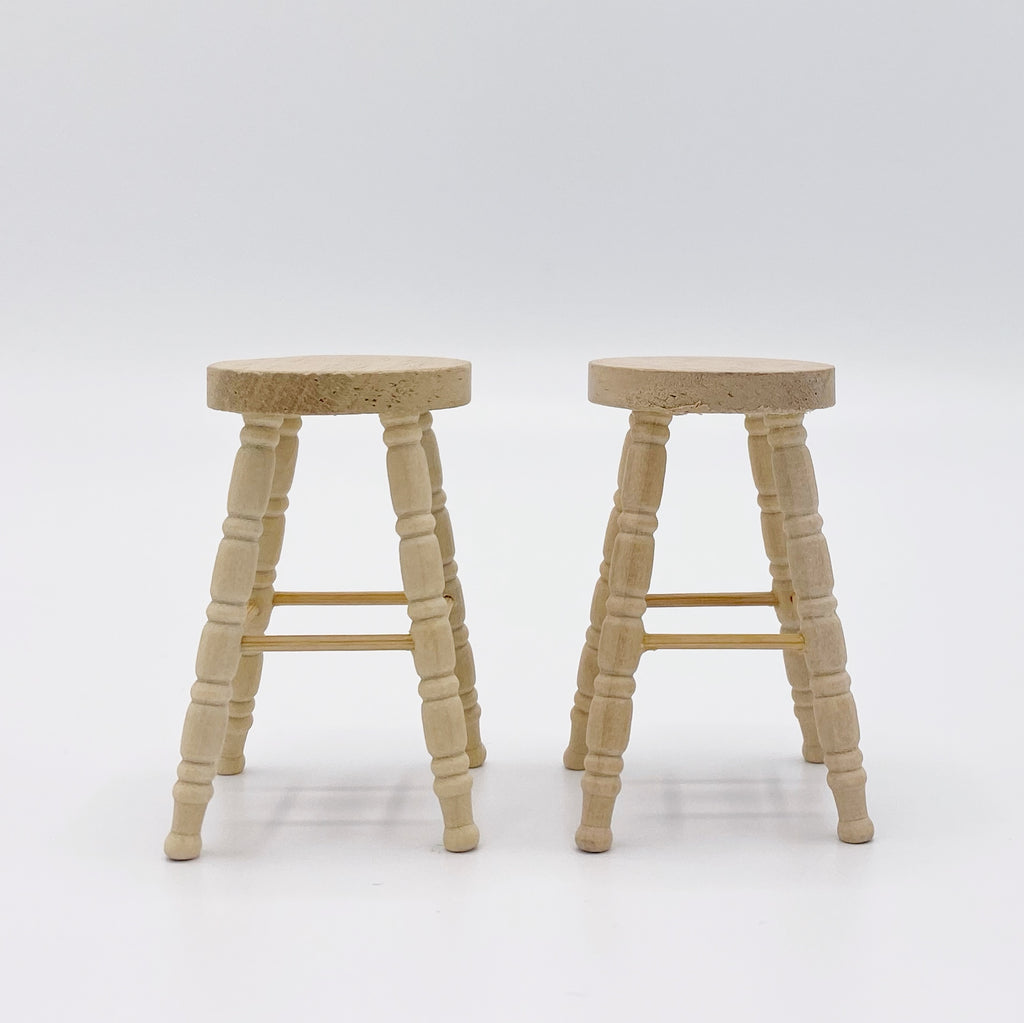 Unfinished Wood Stools for Dollhouse - Life In A Dollhouse