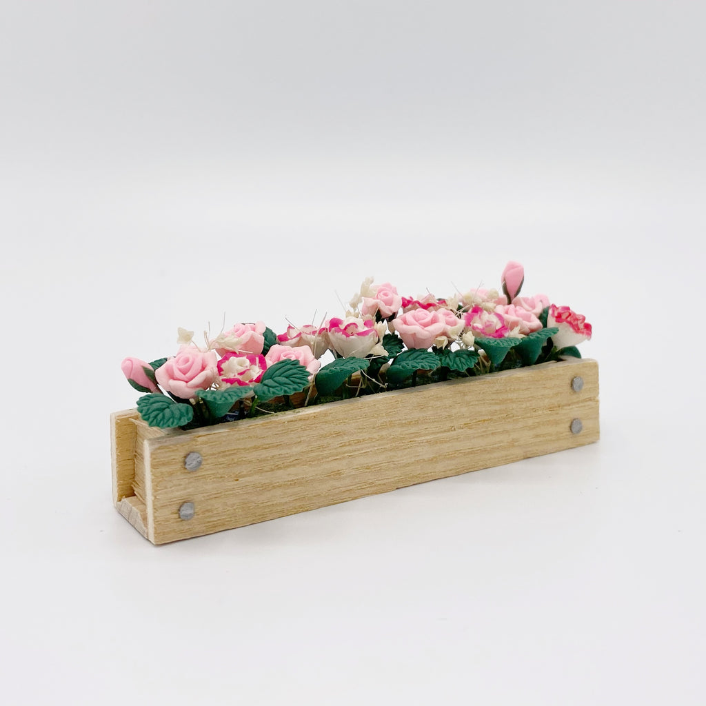 Pink Rose Flower Box - Life In A Dollhouse