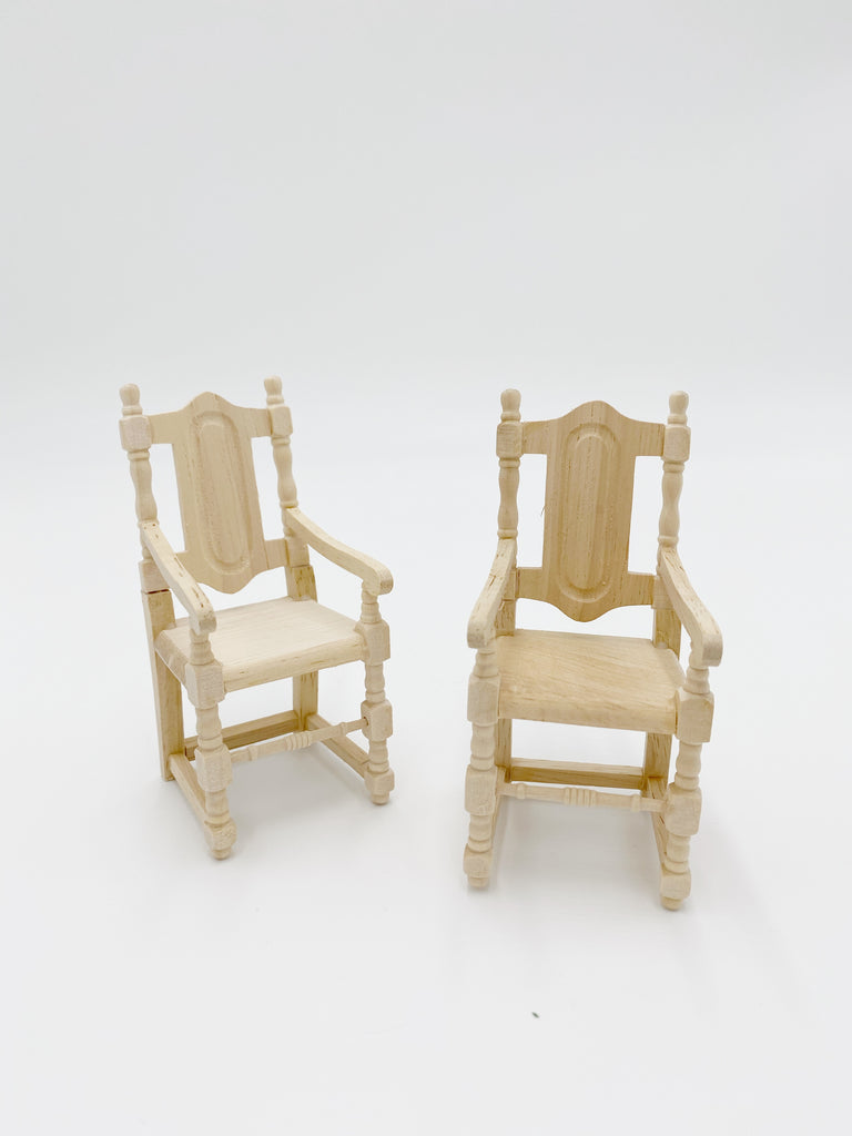 Unfinished Set of Two Carver Chairs For Dollhouse