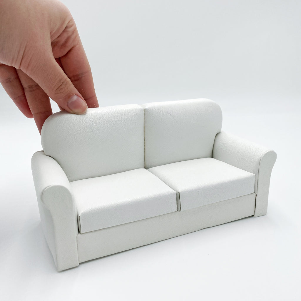 Leather White Couch - Life In A Dollhouse
