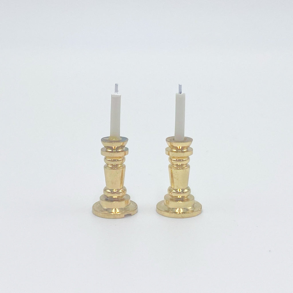 Pair of Gold Candlesticks For Dollhouse - Life In A Dollhouse