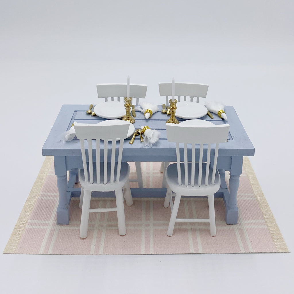 Simple Plaid Dollhouse Rug in Pink