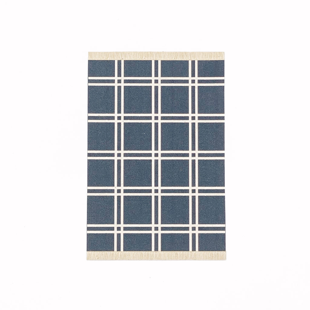 Simple Plaid Dollhouse Rug in Navy - Life In A Dollhouse