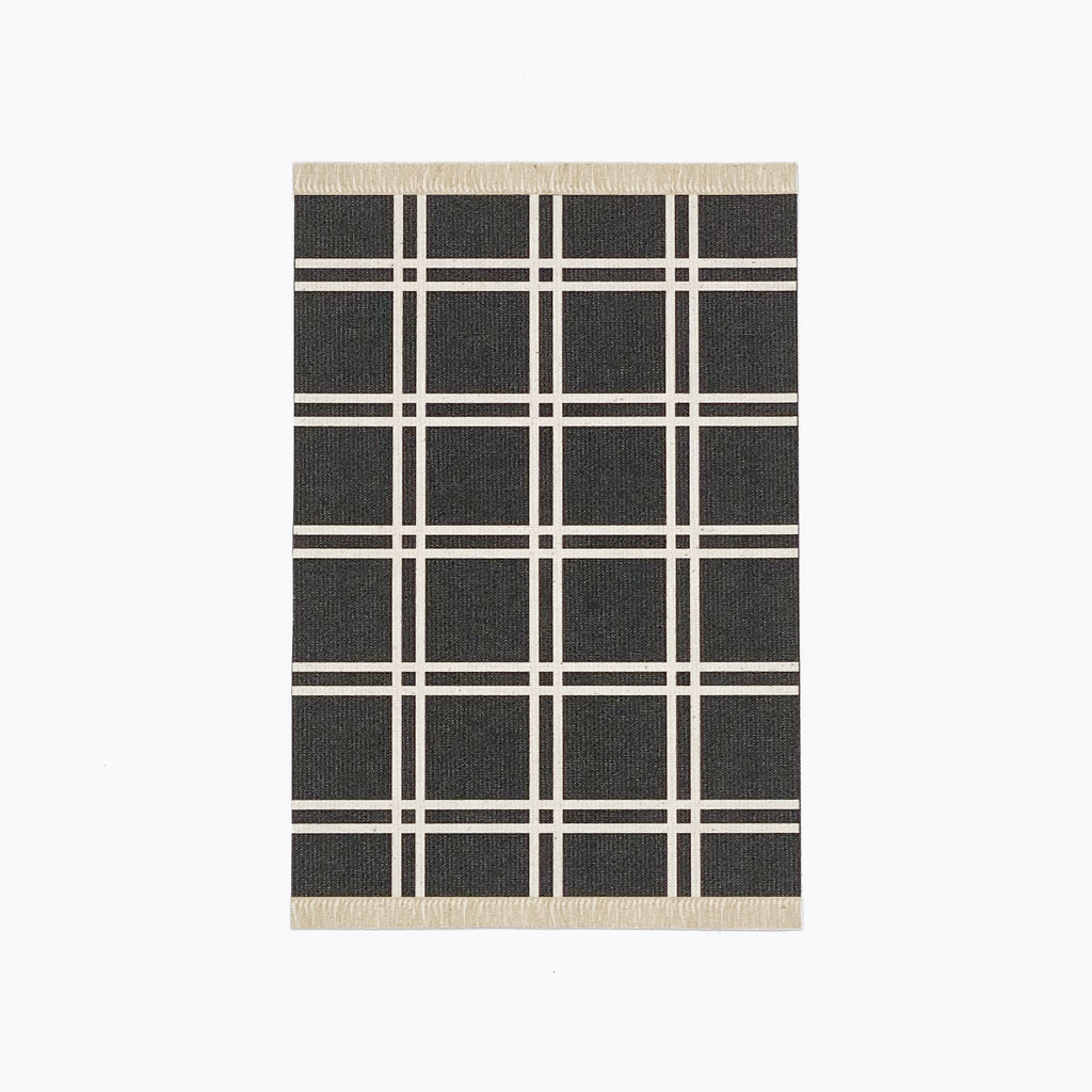 Simple Plaid Dollhouse Rug in Black - Life In A Dollhouse