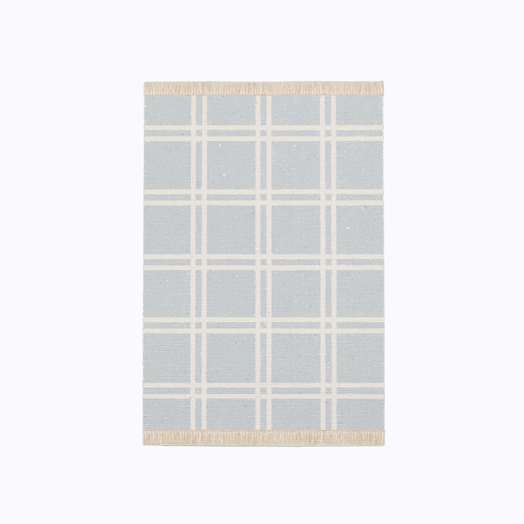 Simple Plaid Dollhouse Rug in Light Blue - Life In A Dollhouse