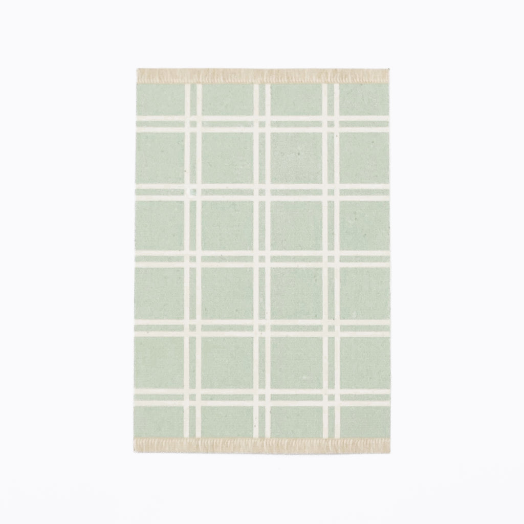 Simple Plaid Dollhouse Rug in Green - Life In A Dollhouse