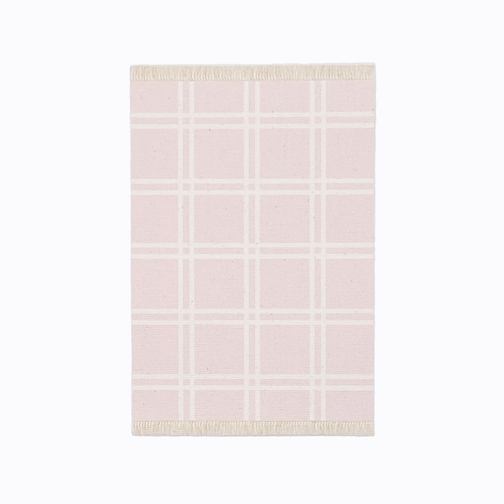 Simple Plaid Dollhouse Rug in Pink - Life In A Dollhouse