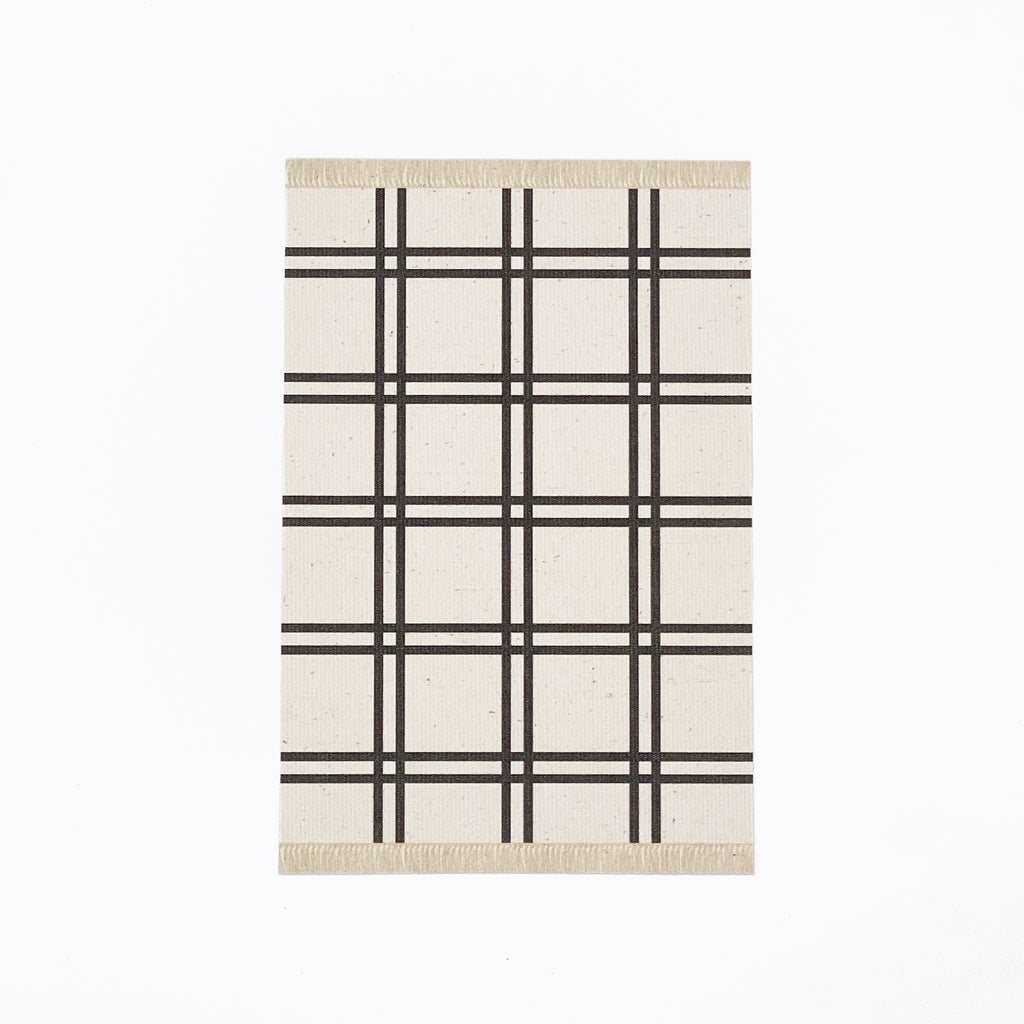 Simple Plaid Dollhouse Rug in White - Life In A Dollhouse