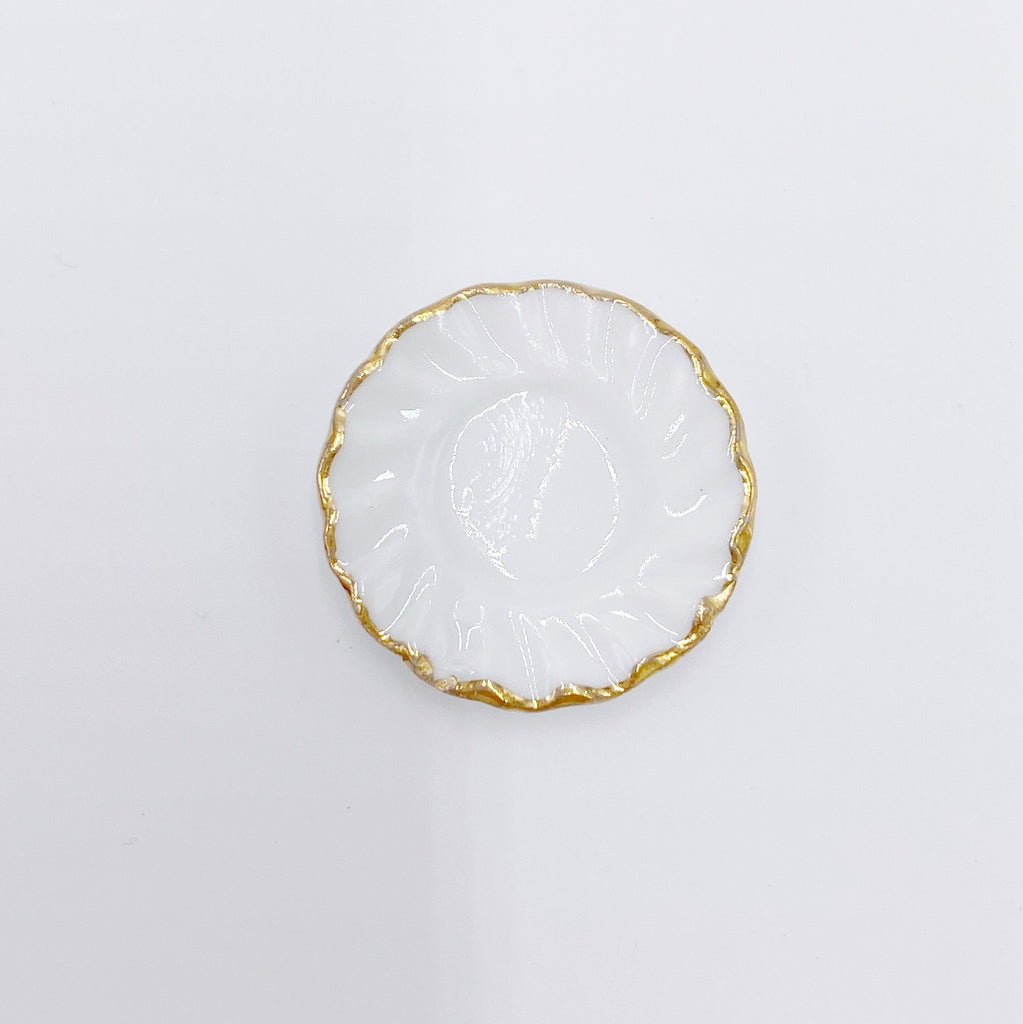 Side Plate in White with Gold For Dollhouse - Life In A Dollhouse