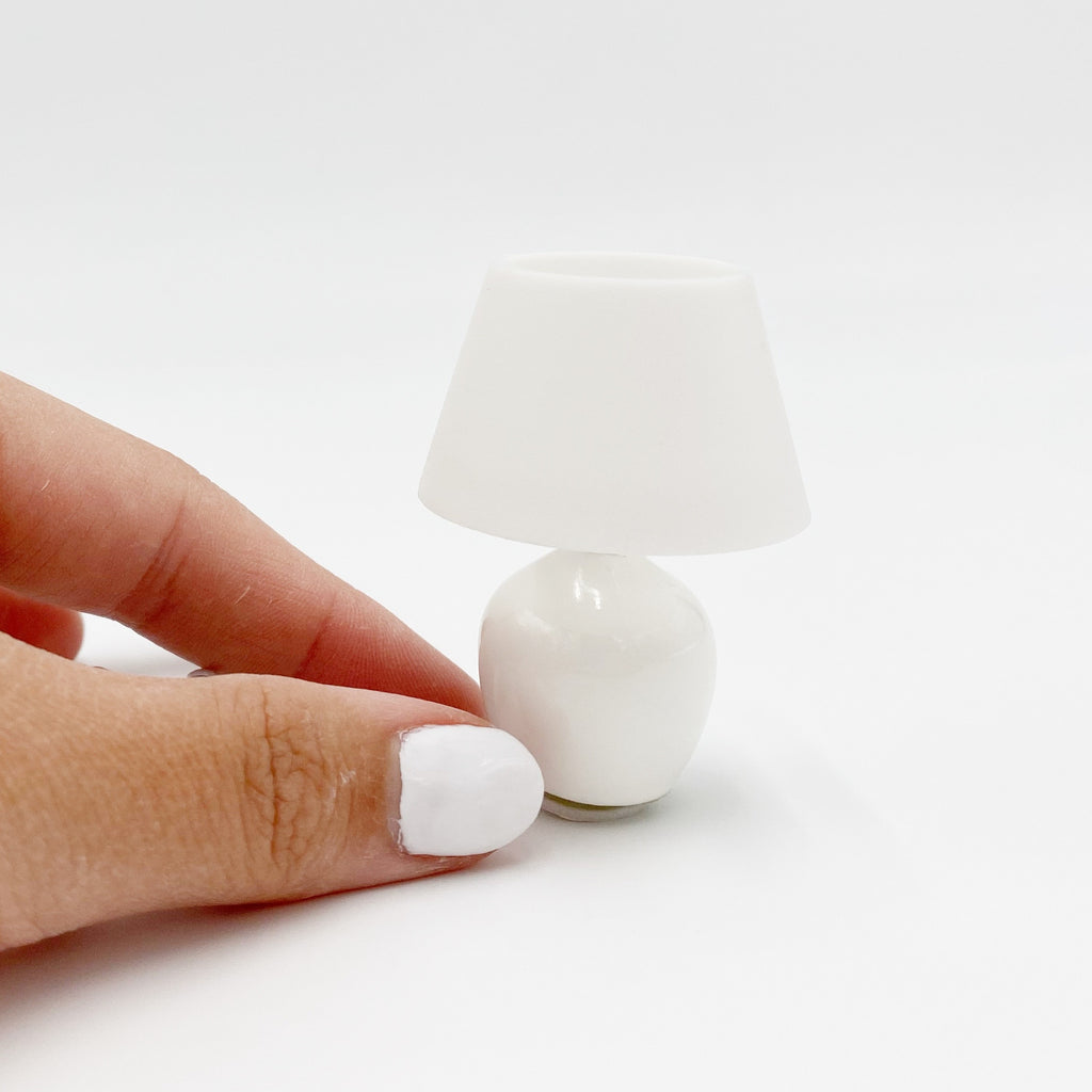 Lamp, Round and White For Dollhouse - Life In A Dollhouse