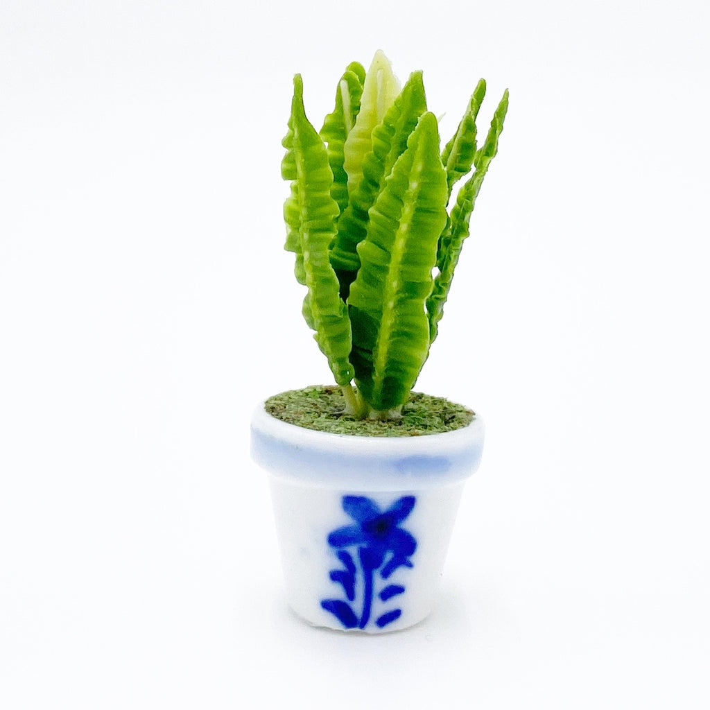Blue And White Plant For Dollhouse - Life In A Dollhouse