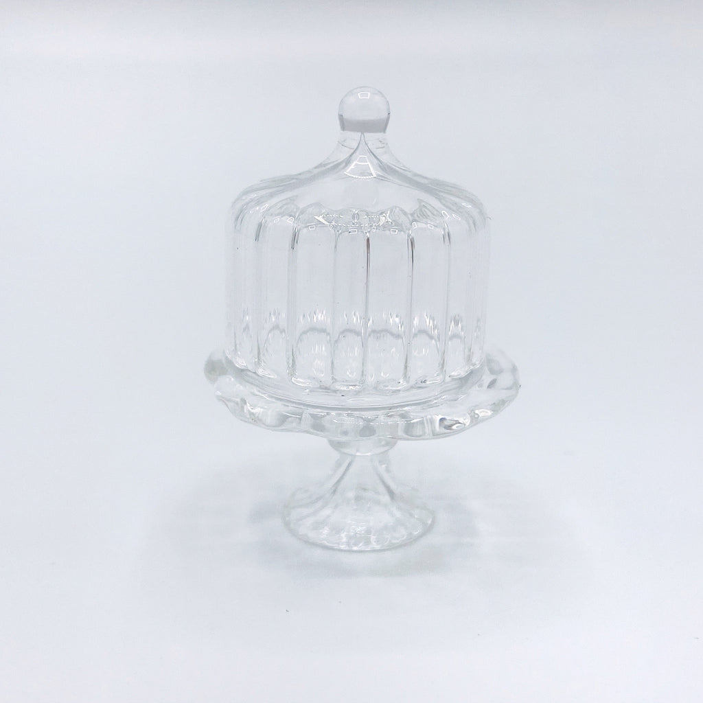 Ridged Glass Cake Stand For Dollhouse - Life In A Dollhouse