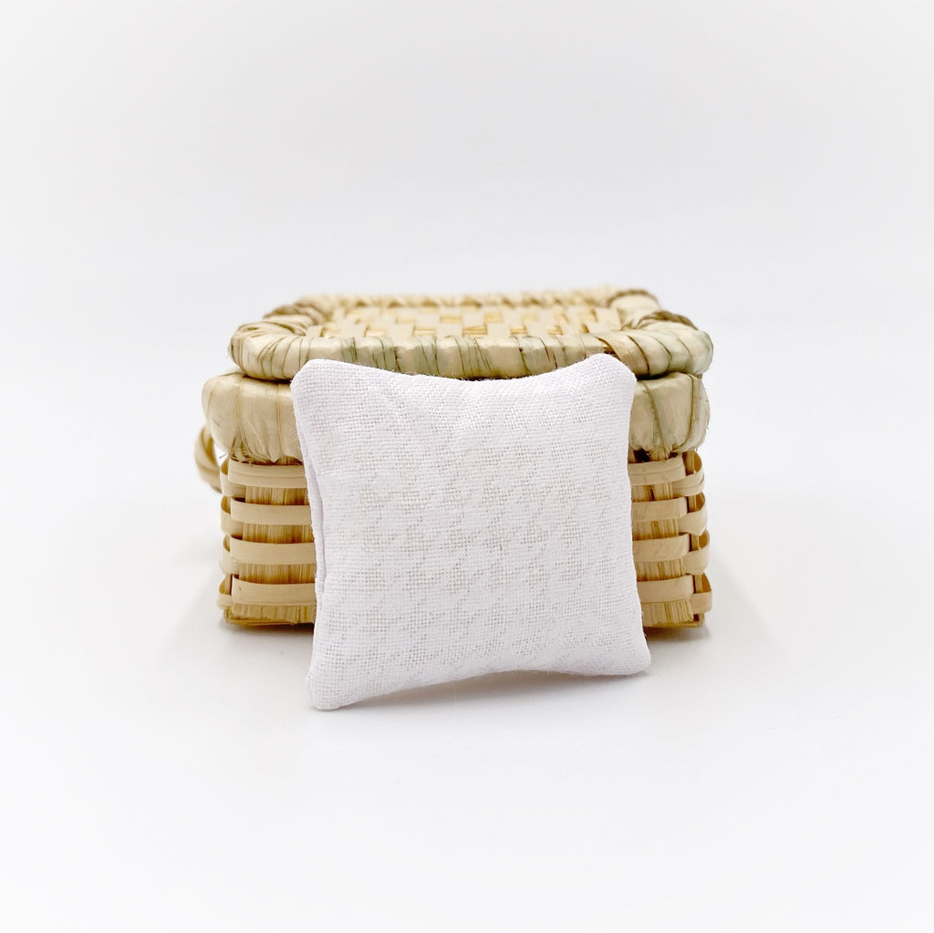 White Houndstooth Pillow For Dollhouse - Life In A Dollhouse
