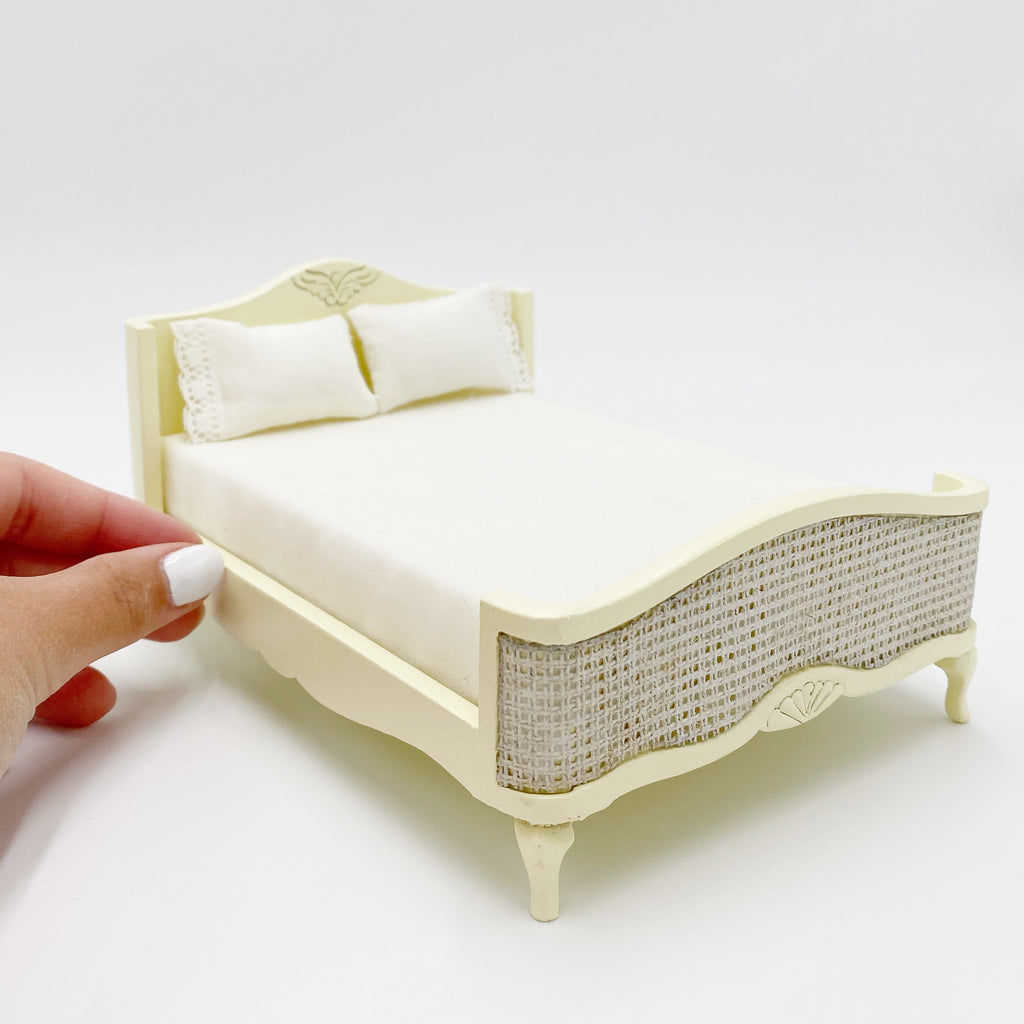 Cream French Double Bed For Dollhouse - Life In A Dollhouse