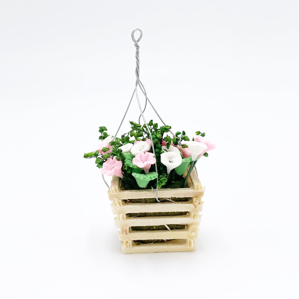 Hanging Flower Basket For Dollhouse in Pink/White - Life In A Dollhouse