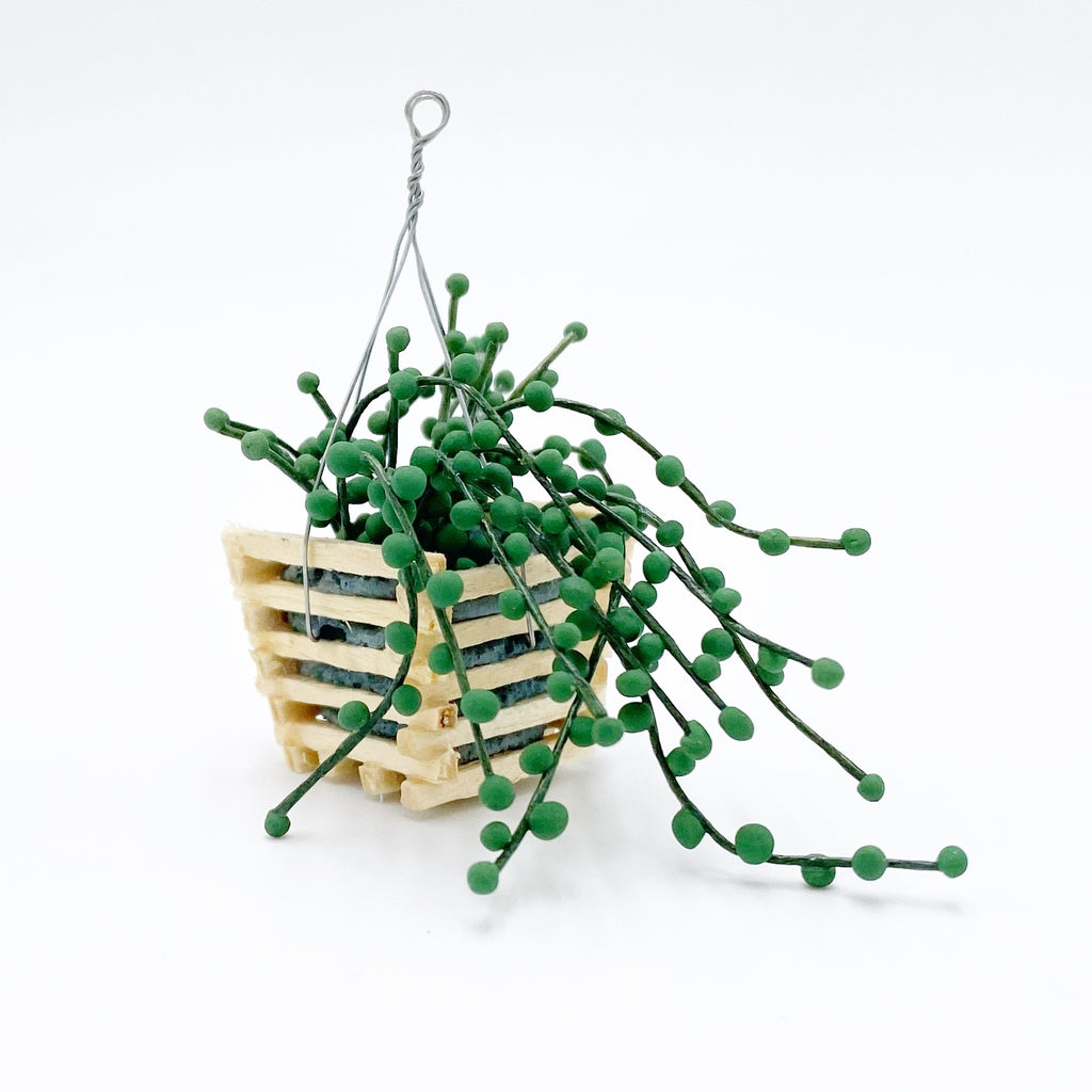 Hanging Plant in Basket For Dollhouse - Life In A Dollhouse