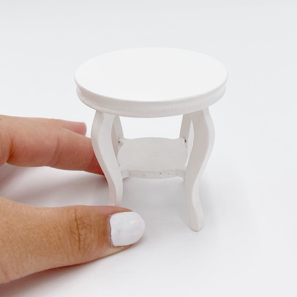 Round White aside Table For Dollhouse - Life In A Dollhouse