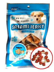 D'Dog Sasami Jerky Stick Dumbbell with Salmon Dog Treats