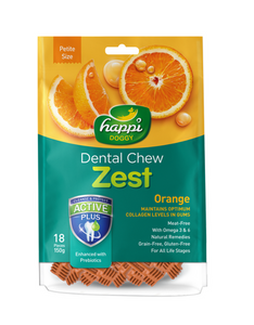 Happi Doggy Dental Chew Zest Petite Orange [18 Pcs] 150g