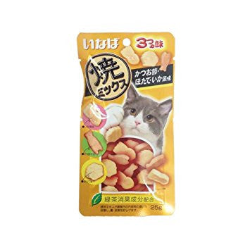 Inaba Soft Bits Tuna & Chicken Fillet - Dried Bonito Scallop & Squid Flavour