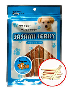 D'Dog Sasami Jerky Salmon with Pollock Sandwich Dog Treats