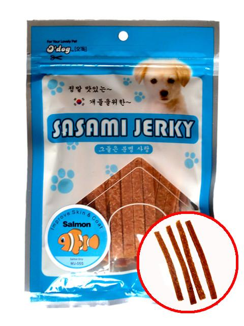 D'Dog Sasami Jerky Salmon Strip Dog Treats 100g
