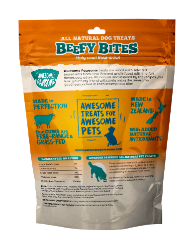 Awesome Pawsome Beefy Bites All Natural Dog Treats 85g | Waggymeal Online Pet Store Malaysia