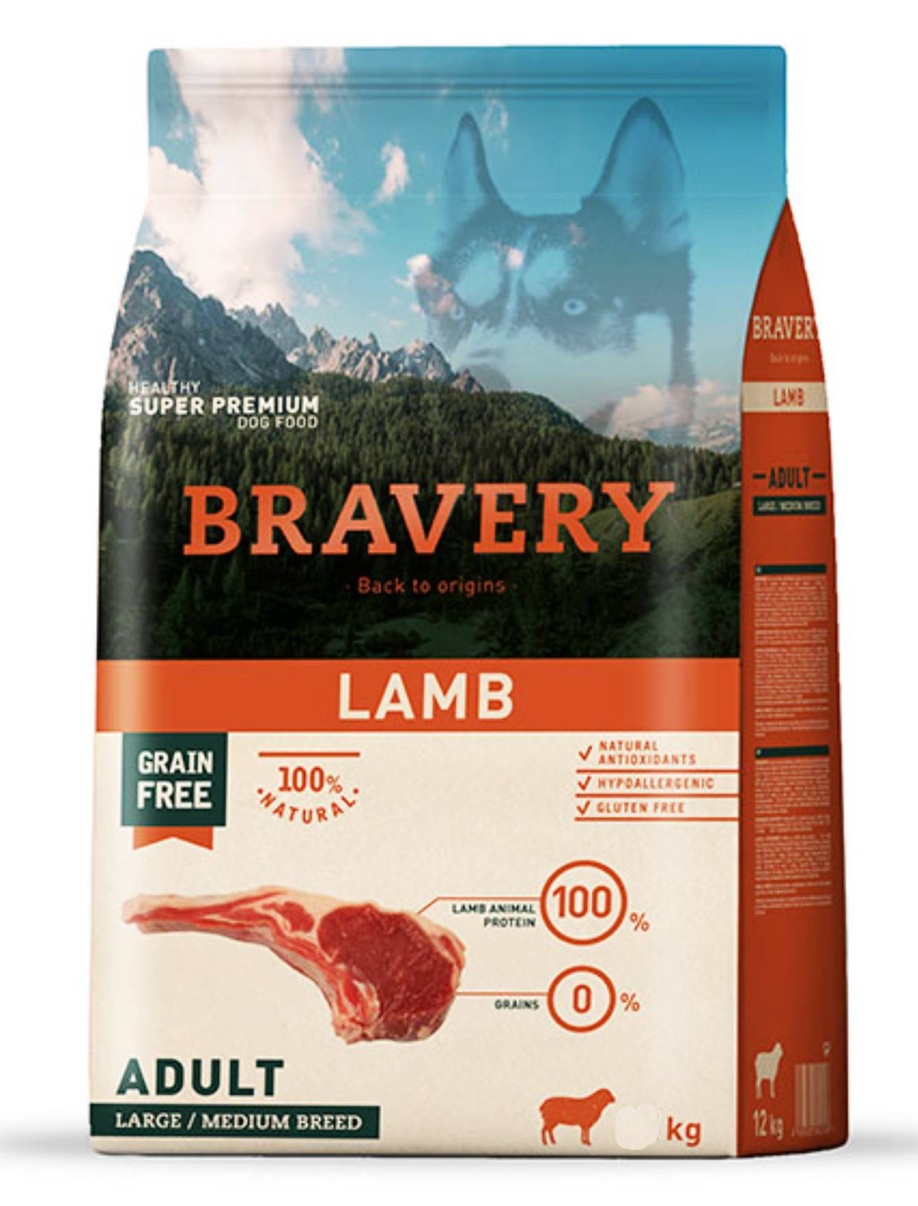 Bravery Lamb Adult Large & Medium Breed Dry Dog Food 4kg| Waggymeal Online Pet Store Malaysia