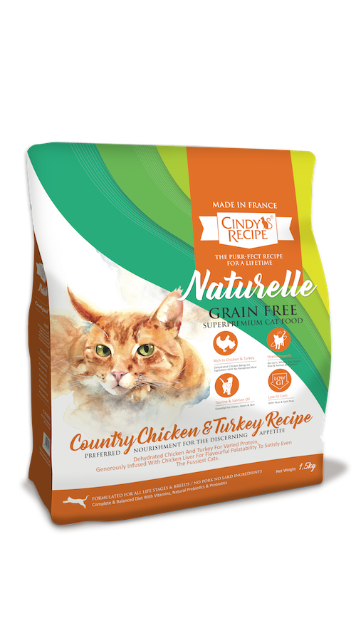 Cindy Recipe Naturelle Grain Free Country Chicken & Turkey Cat Dry Food (3 sizes)